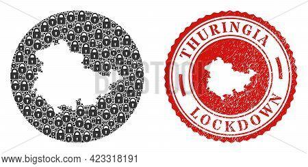 Vector Mosaic Thuringia Land Map Of Locks And Grunge Lockdown Seal Stamp. Mosaic Geographic Thuringi