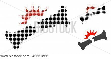 Bone Fracture Halftone Dotted Icon. Halftone Array Contains Circle Dots. Vector Illustration Of Bone