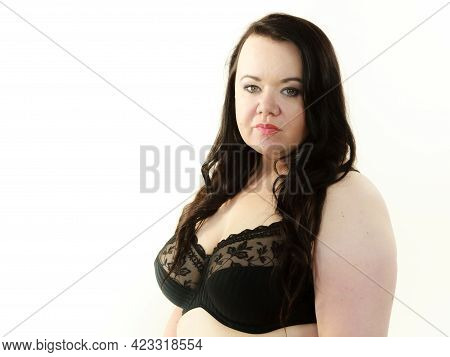 Plus Size Fat Mature Woman Wearing Black Lace Bra Showing Her Big Chest Breasts. Bosom, Brafitting A