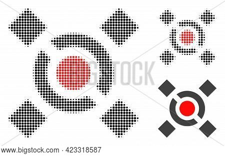Central Link Halftone Dotted Icon. Halftone Pattern Contains Circle Pixels. Vector Illustration Of C
