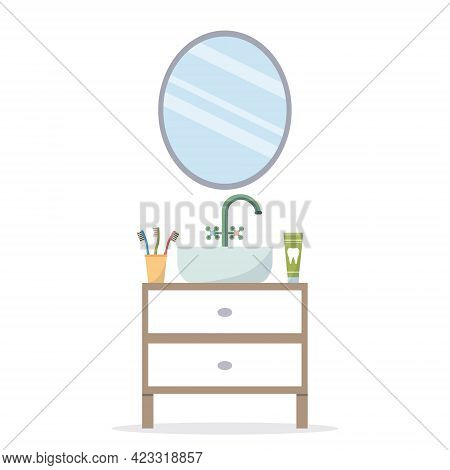 Mirror In The Bathroom With Hygiene Items. Home Furnishings - A Round Mirror And A Sink. Toothpaste