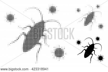 Cockroach Infection Halftone Dotted Icon. Halftone Pattern Contains Circle Dots. Vector Illustration