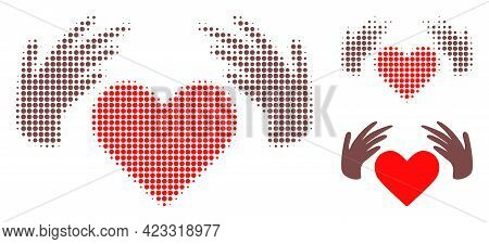 Handmade Love Halftone Dotted Icon. Halftone Array Contains Round Elements. Vector Illustration Of H