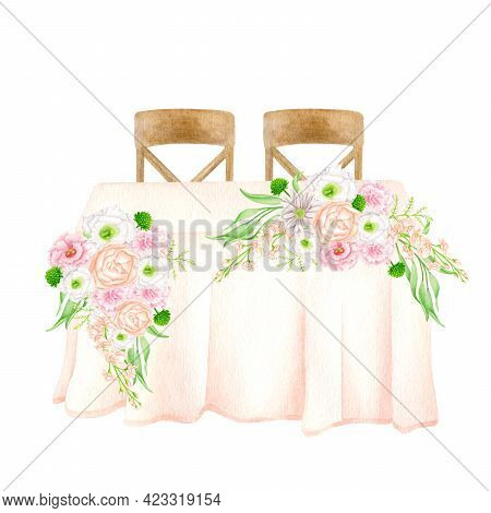 Watercolor Wedding Table Decorated With Flower Arrangements Isolated On White. Hand Drawn Sweetheart