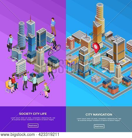 Vertical Isometric City Banners Presenting Society Life And City Navigation Isolated Vector Illustra