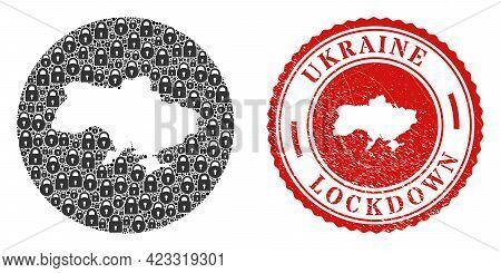 Vector Mosaic Ukraine Map Of Locks And Grunge Lockdown Seal Stamp. Mosaic Geographic Ukraine Map Con