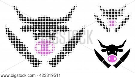 Butchery Knives Halftone Dotted Icon. Halftone Array Contains Round Pixels. Vector Illustration Of B