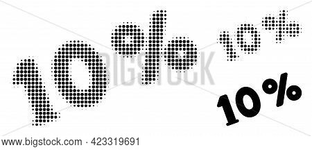 10 Percents Halftone Dotted Icon. Halftone Array Contains Circle Points. Vector Illustration Of 10 P