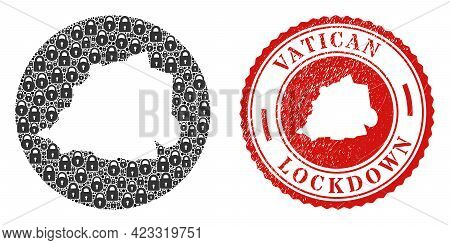Vector Mosaic Vatican Map Of Locks And Grunge Lockdown Stamp. Mosaic Geographic Vatican Map Construc