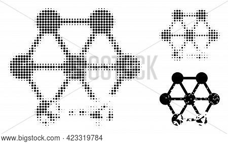 Damaged Blockchain Halftone Dotted Icon. Halftone Array Contains Circle Points. Vector Illustration