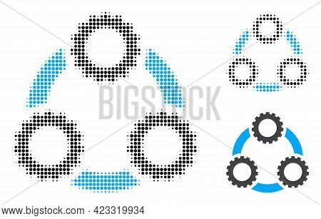 Gear Planetary Transmission Halftone Dotted Icon. Halftone Pattern Contains Circle Points. Vector Il