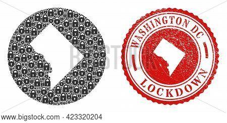 Vector Mosaic Washington District Columbia Map Of Locks And Grunge Lockdown Seal Stamp. Mosaic Geogr