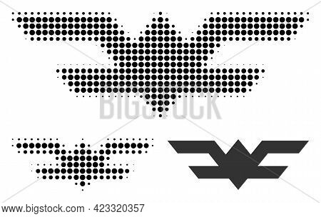 Aviation Symbol Halftone Dotted Icon. Halftone Pattern Contains Round Elements. Vector Illustration