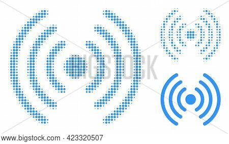 Wi-fi Signal Halftone Dotted Icon. Halftone Pattern Contains Circle Elements. Vector Illustration Of