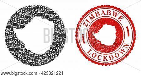 Vector Mosaic Zimbabwe Map Of Locks And Grunge Lockdown Seal. Mosaic Geographic Zimbabwe Map Constru