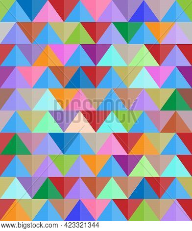 Abstract Modern Colorful Background With Triangular Shapes, Seamless Vector Pattern