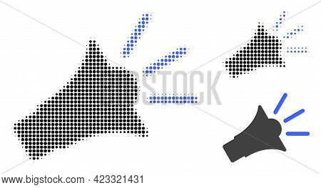 Sound Speaker Halftone Dotted Icon. Halftone Array Contains Circle Points. Vector Illustration Of So
