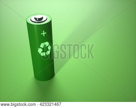 3d Illustration, Concept Image Of Battery Recycling, Renewable Energy.