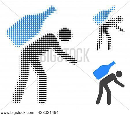 Wine Courier Halftone Dotted Icon. Halftone Array Contains Round Elements. Vector Illustration Of Wi