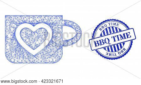 Vector Net Favourite Cup Carcass, And Bbq Time Blue Rosette Scratched Stamp. Linear Carcass Net Illu