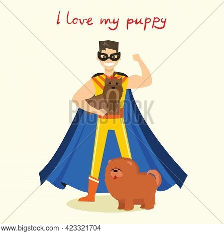Cartoon Vector Card With Superhero Man With Cute Pet Dog