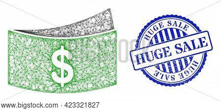 Vector Net Mesh Dollar Bills Carcass, And Huge Sale Blue Rosette Textured Seal. Crossed Frame Net Il