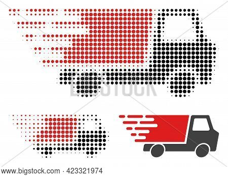 Quick Delivery Halftone Dotted Icon. Halftone Array Contains Round Pixels. Vector Illustration Of Qu