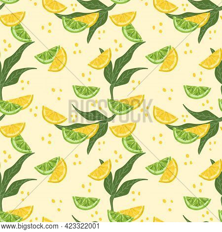 Modern Background With Citrus Fruits. Vector Background With Juicy Lemons And Limes. Textile Backing