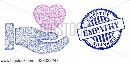 Vector Net Mesh Favourite Heart Offer Hand Model, And Empathy Blue Rosette Scratched Seal Print. Cro