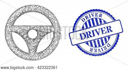 Vector Net Mesh Car Steering Wheel Wireframe, And Driver Blue Rosette Unclean Watermark. Linear Carc