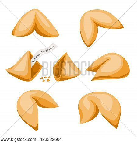 Food Vector Set. Sweet Pastries. Chinese Fortune Cookies And Crushed. Fortune Cookie With Note Insid