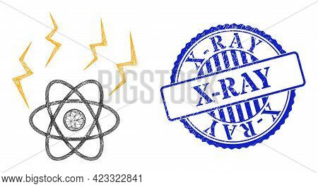 Vector Network Atomic Emission Carcass, And X-ray Blue Rosette Textured Seal Print. Hatched Carcass