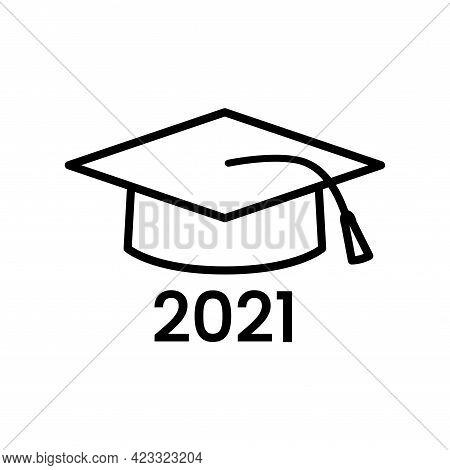 School Hat Vector Line Icon. University Graduate Student Outline Cap Symbol. Academy Diploma Logo. C