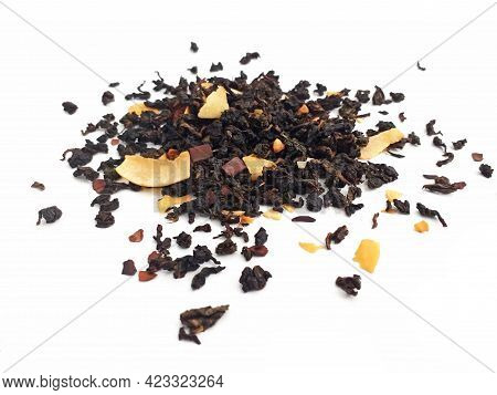 Aerial View Of Organic Black Tea With Almond And Coconut. Ground Dried Leaves Or Buds Of The Camelli