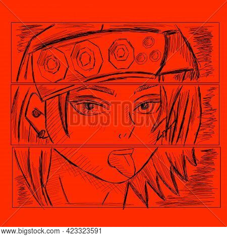 Anime Poster. Kawaii Manga Girl Face With Big Eyes In Manga Style. Vector Design For T-shirt Graphic