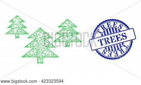 Vector Crossing Mesh Fir Tree Forest Frame, And Trees Blue Rosette Scratched Seal. Crossed Carcass N