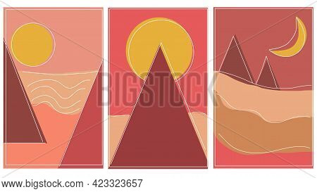 Set Of Creative Minimalist Modern Line Art Print. Geometric Landscape Banners With Hills, Rivers And