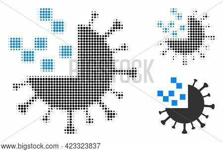 Synthetic Virus Halftone Dotted Icon. Halftone Pattern Contains Round Points. Vector Illustration Of