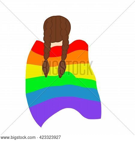 View From Back Girl Rainbow Cape Vector Illustration Eps10
