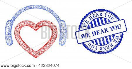 Vector Net Favourite Dj Headphones Carcass, And We Hear You Blue Rosette Textured Stamp Seal. Crosse