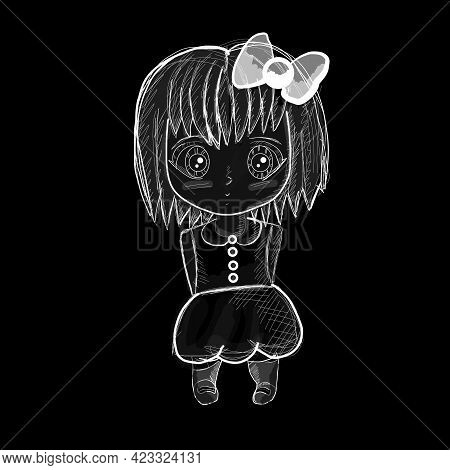 Sad Anime Girl. Girl Stands With A Cute Bow. Manga Anime Vector Design For T-shirt Graphics, Banner,