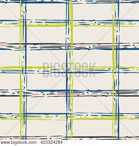 Grunge Line Vector Seamless Grid Pattern Background. Organic Irregular Lines.painterly Ink Brush Str