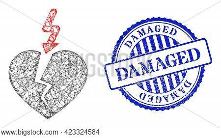 Vector Net Mesh Break Heart Framework, And Damaged Blue Rosette Scratched Stamp Seal. Crossed Frame