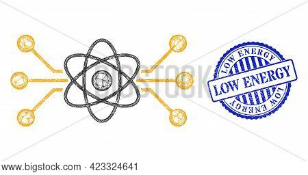 Vector Net Mesh Atomic Circuit Model, And Low Energy Blue Rosette Corroded Stamp Seal. Wire Frame Ne