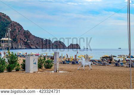 Alanya, Turkey - October 23, 2020: White Plastic Sculpture Of Pegasus On Damlatas Beach In Alanya. H