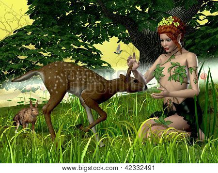 A rabbit fawn and hummingbird come to visit a friendly fairy. poster
