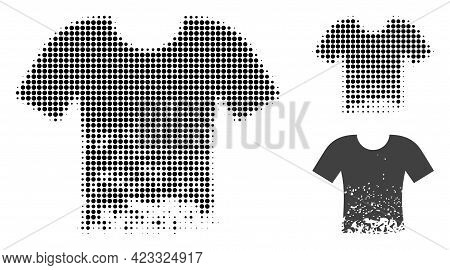 Ragged T-shirt Halftone Dotted Icon. Halftone Array Contains Round Dots. Vector Illustration Of Ragg