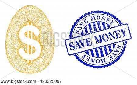 Vector Net Mesh Dollar Deposit Egg Model, And Save Money Blue Rosette Corroded Seal Imitation. Cross