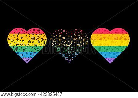 Lgbt Pride Rainbow Flags In Heart Forms Set Vector