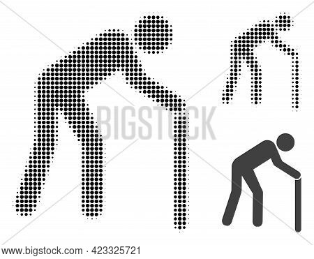 Retired Person Halftone Dotted Icon. Halftone Pattern Contains Round Pixels. Vector Illustration Of
